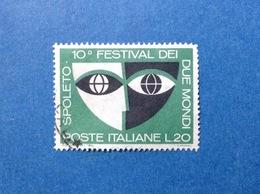 1967 ITALIA SPOLETO FESTIVAL DEI DUE MONDI 20 LIRE FRANCOBOLLO USATO ITALY STAMP USED - 6. 1946-.. Repubblica