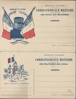 CP En Franchise Militaire FM Gloire à Joffre Honneur Et Patrie Drapeau Français Carte Réponse Avec Cuirassier - Cartes De Franchise Militaire