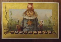 Chromo Image Bon-point Chromo. Vers 1880-1890. Verso Vierge. Magicien Jeu De Cartes - Chromos