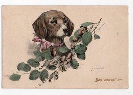 ANIMAUX - CHIEN * DOG * TECKEL * ILLUSTRATEUR KASTNER * P. F., B. Série 646 * FLEUR * Carte Colorisée * BON NOUVEL AN - Dogs
