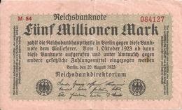 ALLEMAGNE 5 MILLIONEN MARK 1923 VF+ P 105 - [ 3] 1918-1933 : République De Weimar