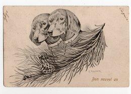 ANIMAUX - CHIEN * DOG * TECKEL * ILLUSTRATEUR KASTNER * E. S., D. Série 646 * SAPIN * Carte Colorisée * BON NOUVEL AN - Hunde