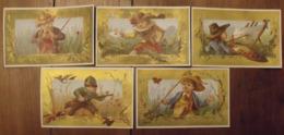 5 Chromos Image Bon-point Chromo. Vers 1880-1890. Verso Vierge. Chasseur Pêcheur Peintre Messager - Chromos