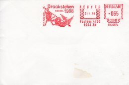 21 I 86  Roodfrankering   Reuver Draaksteken Beesel 1988 Op Envelop - Postal History