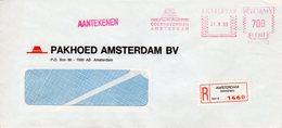 21 II 89  Roodfrankering Amsterdam Op Aangetekende Vensterenvelop Met Firmalogo - Postal History