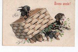 ANIMAUX - CHIEN * DOG * TECKEL * PANIER * HOUX * BONNE ANNEE * Carte Colorisée - Dogs