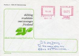 10 4 90   Roodfrankering Beetsterzwaag Op Envelop Met Firmalogo Naar Franeker - Postal History