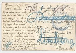 Marcophilie 1915 Prisonniers De Guerre Par Genève A Limburg Allemagne - Guerra De 1914-18