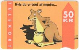 DANMARK A-494 Magnetic TeleDanmark - Cartoon, Animal, Kangaroo - Used - Denmark