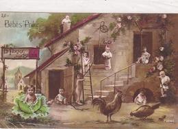 Ww1 La Ferme Des Bébés  Poilus Photomontage Bébé Choux Pleins De Bb Dans Cheminée Echelle Vase - Altre Illustrazioni