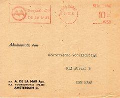 13 III 47    Roodfrankering N259  10 Ct Amsterdam Op Envelop Met Firmalogo Naar Den Haag - Postal History