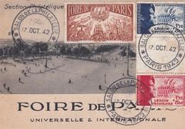 Cpsm  10X15 .Foire Paris SALON DE LA PHILATHELIE Paris 17/10/1942 + 2 X T.P. Légion Tricolore (1F,20+8F.80  Bleu+Rouge - Timbres (représentations)
