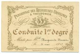 Prix De Conduite M. Vincart 1911. Pensionnat Religieuses Ursulines à THILDONCK. - Diplômes & Bulletins Scolaires