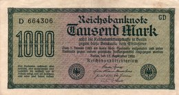 GERMANY-  1000 MARK 1922  P-76a  CIRC.xf+aunc    Filigran -Hakensterne  Serie D 664306 - [ 3] 1918-1933 : Weimar Republic