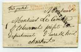 Franchise : Bureau De Poste Chambre Des Pairs + 60PP + PORT PAYE + Très Préssée Manuscrit / Adressé Au Comte D'Estournel - Storia Postale