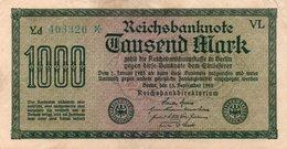 GERMANY-  1000 MARK 1922  P-76e  CIRC.xf +aunc   Filigran -Gitter Mit 8  SerieYd  403320 - [ 3] 1918-1933 : Weimar Republic