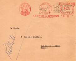 25 XII 50     Roodfrankering Amsterdam U III  Op Envelop Naar Paris  + Zwart Dagtekeningstempel - Postal History