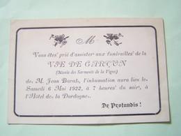 BERGERAC (DORDOGNE) LES FETES. LES MENUS. ENTERREMENT DE LA VIE DE GARCON DE MR. JEAN BARAT. - Bergerac