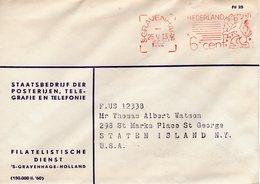 25 V 1962    Baarfrankering 6 Cent Rechts  Van 's Gravenhage  . Op  Envelop Met Firmalogo Naar Staten Island - Postal History