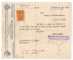 1925 YUGOSLAVIA,CROATIA,ZAGREB TO BELGRADE,JUGOSLAVENSKO SHELL D.D. INVOICE ON LETTERHEAD,1 FISKAL STAMP - Invoices & Commercial Documents