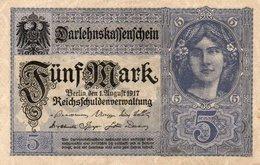 GERMANY- 5 MARK 1917  P-56b.1  Xf+.aunc - [ 2] 1871-1918 : Impero Tedesco