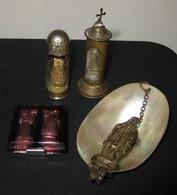 Lot 4 Objets - Souvenir De Lourdes Gobelet En Nacre / Autel / Chapelle De Voyage - 10 Photos - Religion &  Esoterik