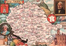 CPSM - Carte GEO.- TARN - Illustration J.P.PINCHON - Edition Blondel La Rougery - Cartes Géographiques