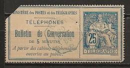 FRANCE:, Obl., TELEPHONES N° YT 3, Obl. Convoyeurs Stations ? - Telegraphie Und Telefon