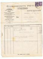 LETTRE FACTURE TIMBRES PETAIN N° 509 ETABLISSEMENT PETIA à VALENCIENNES Pour ROUVIGNY (NORD) 1944 - Marcophilie (Lettres)