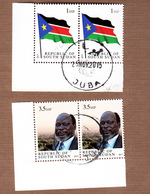 Cancelled Pair 1st Stamps Independent SOUTH SUDAN 1SSP National Flag And 3.5 SSP Dr John Garang SOUDAN Du Sud Südsudan - South Sudan