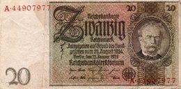 GERMANY- 20 MARK 1929  P-181a.1  Circ.vf++axf   Serie A 44907077 - [ 3] 1918-1933: Weimarrepubliek