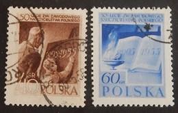 """POLOGNE YT 843/844 OBLITÉRÉS """"SYNDICAT DES INSTITUTEURS POLONAIS' ANNÉE 1955 - Usati"""