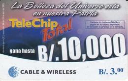 TARJETA DE PANAMA DE CABLE & WIRELESS DE B/.3 DE TELECHIP TOTAL - Panama