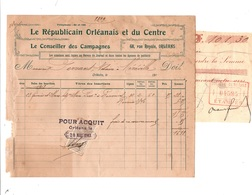 ORLEANS -  Facture LE REPUBLICAIN ORLEANAIS ET DU CENTRE - Le Conseiller Des Campagnes - Timbre De Quittance - France