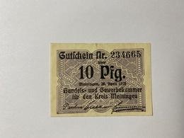 Allemagne Notgeld Meiningen 10 Pfennig - [ 3] 1918-1933 : République De Weimar