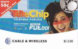 TARJETA DE PANAMA DE CABLE & WIRELESS DE B/3.00 TELE CHIP SOMOS FUTBOL (FOOTBALL) - Panama
