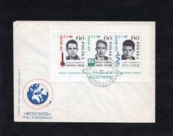 LSC 1964 - Cachet WARSZAWA - WOSCHOD  Sur BF 41 - TRZEJ KOSMONAUCI - Blocs & Feuillets