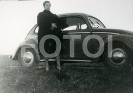 60s REAL ORIGINAL AMATEUR PHOTO  FOTO CAR VOITURE VW VOLKSWAGEN BEETLE COCCINELLE CAROCHA  BT52 - Automobili