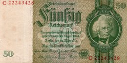 GERMANY- 50 REICHSMARK 1933  P-182a.2  Circ . Xf+aunc  SERIE C-22243428 - [ 4] 1933-1945: Derde Rijk