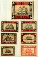 6+1 Alte Zündholzetiketten Aus Schweden, The Ship, Impregnated Safety Match, Made In Sweden. - Matchbox Labels