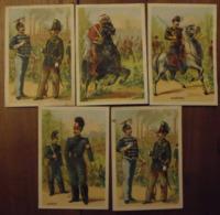 5 Chromos Image Bon Point Chromo. Vers 1880-1890. Soldats Cavaliers. Verso Vierge - Chromos