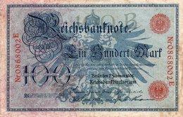 GERMANY- 100 MARK 1908  P-33a  Circ-VF Serie 0868002 - [ 2] 1871-1918 : German Empire