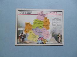 Chromo LION NOIR  -  L'Est  Du Bassin Parisien  -  Carte Géographique  - Principaux Produits - Chromos