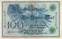 GERMANY- 100 MARK 1908  P-34  Circ-VF Serie 4445440  M - [ 2] 1871-1918 : German Empire