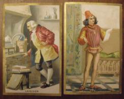 2 Chromos Image Bon Point Chromo. Vers 1880-1890. Lavoisier Pierre Gringoire. Verso Vierge - Chromos