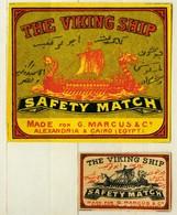 1+1 Alte Zündholzetiketten Aus Schweden, The Viking Ship, Safety Match, Made For G. Marcus & Co, Alexandria & Cairo. - Matchbox Labels