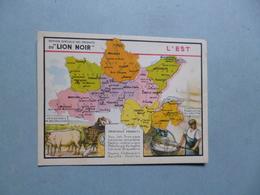 Chromo LION NOIR  -   L'EST   -  Carte Géographique  - Principaux Produits - Chromos