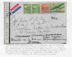 Enveloppe Des USA Décembre 44 Censure Française à Identifier - Poststempel (Briefe)