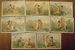 8 Chromos Image Bon Point Chromo. Vers 1880-1890. Scènes Galantes XVIII°. Verso Vierge - Chromos