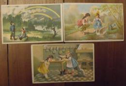 3 Chromos Image Bon Point Chromo. Vers 1880-1890. Fillettes Arc-en Ciel. Verso Vierge - Chromos